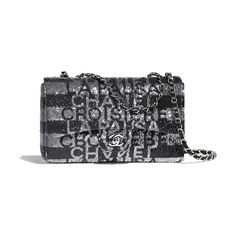 Embroidered Satin, Sequins & Silver-Tone Metal Silver & Black Flap Bag | CHANEL Vintage Chanel Bag, Chanel Hat, Coco Chanel, Chanel Black, Chanel Handbags, Purses And Handbags, Leather Handbags, Luxury Handbags, Novelty Bags