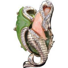HATTIE CARNEGIE Vintage Reclining Mermaid Brooch Lucite Coral Jade and Rhinestones