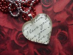 I Love You Heart Glass Tile Pendant Necklace.