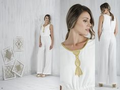 Bobbin lace, Pillow lace, jumpsuit, handmade, traditional Greek handicraft, bamboo fabric, sustainable fashion. www.ariadnesthread.gr