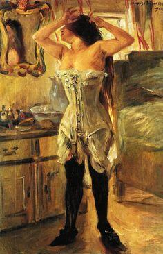 Lovis Corinth (German 1858-1925) [Impressionism, Expressionism] In a Corset, 1910. Kunstsalon Franke.