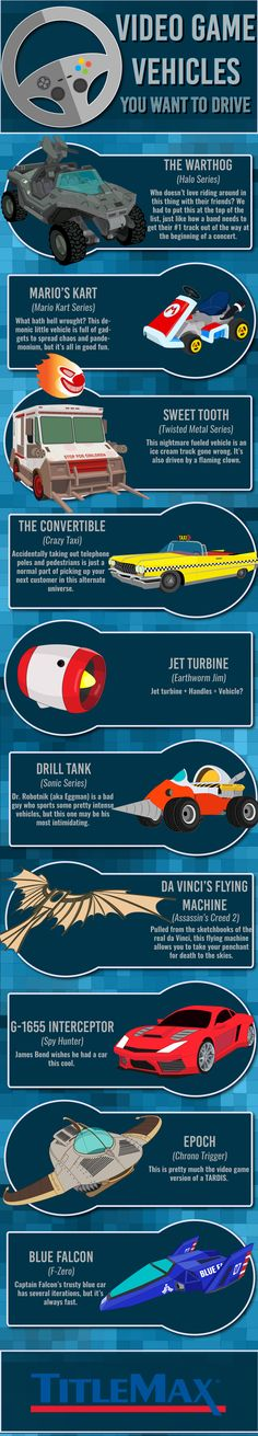 Video Game Vehicles You Want To Drive #Infographic #Games #VideoGames