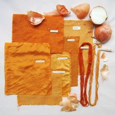swatches dyed with onion skins http://textileartscenter.com/blog/dyeing-with-food-scraps/