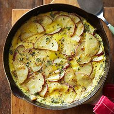 "Potato-Thyme Frittata  ""This flavorful frittata can be a simple brunch or weeknight supper dish; if you don't have fresh thyme, just substitute dried. The recipe comes from Urban Roots Farm in Springfield, Missouri."""