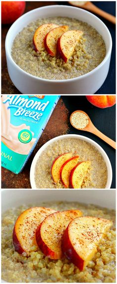 This protein-packed Peach Almond Breakfast Quinoa is filled with hearty quinoa, fresh peaches, creamy almond milk, and just the right amount of spices!