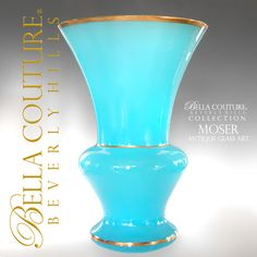 SOLD! - (ANTIQUE) Gorgeous Large MOSER French Blue Opaline Gilt Gold Vase