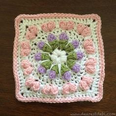 Looking for a 6 inch square, check out my Love Flower Field square. There's a video tutorial too. http://dearestdebi.com/love-flower-field-square