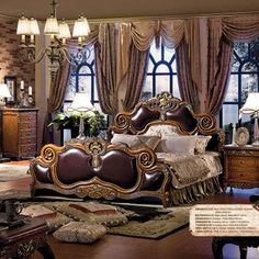 Top Quality And Classic American Luxury Elegant Palace Style Bedroom  100%wooden Furniture Set Brown