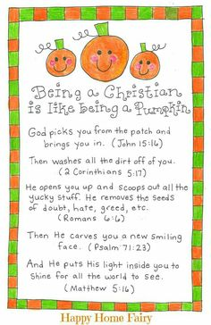 Being a Christian Is Like Being a Pumpkin – FREE Printable! – Happy Home Fairy – Halloween Ideas – Grandcrafter – DIY Christmas Ideas ♥ Homes Decoration Ideas Bible Lessons, Lessons For Kids, Object Lessons, Children Sunday School Lessons, Christian Halloween, Happy Home Fairy, Keepsake Crafts, Church Activities, Ideas
