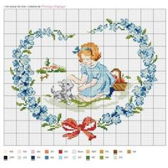 Lalá Lyrics and Arts: Cross Stitch Chart Cross Stitch For Kids, Just Cross Stitch, Cross Stitch Heart, Cross Stitch Flowers, Cross Stitching, Cross Stitch Embroidery, Embroidery Patterns, Cross Stitch Designs, Cross Stitch Patterns