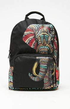 Riot Society Ornate Elephant School Backpack - Womens Backpack - Black - One
