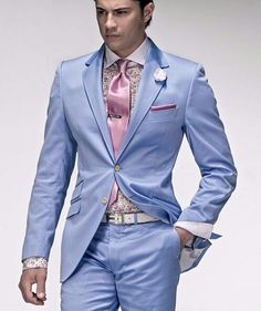 Cheap suit bathrobe, Buy Quality suit blouses for women directly from China suit bag Suppliers: Men suits slim fit mens light blue suits designer suits zipper fly wedding dresses tuxedos groom (Jacket+Pants+Tie+Handkerchief) Mens Light Blue Suit, Blue Suits, Costumes Bleus, Design Bleu, Blue Costumes, Summer Outfits Men, Summer Men, Revival Clothing, Summer Jacket
