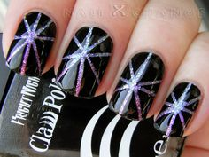 striping tape nail art designs   nailXchange: NOTD: striping tape over glitter gradient