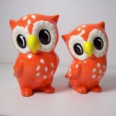 Owl Figurines in Orange.