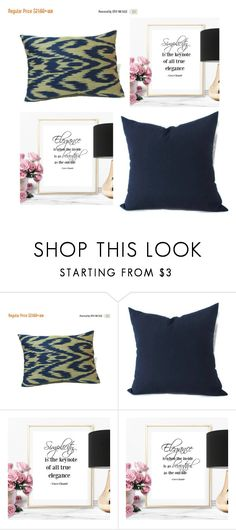 """#ikat blue pillow #blue outdoor pillow #poster prints"" by eulica on Polyvore featuring interior, interiors, interior design, дом, home decor и interior decorating"