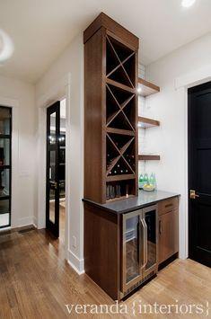 Wine storage at bar.