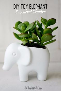 DIY Gift for the Office - DIY Toy Elephant Succulent Planter - DIY Gift Ideas for Your Boss and Coworkers - Cheap and Quick Presents to Make for Office Parties, Secret Santa Gifts - Cool Mason Jar Ideas, Creative Gift Baskets and Easy Office Christmas Presents http://diyjoy.com/diy-gifts-office