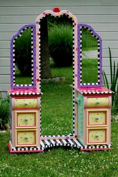 Hand Painted Vanity by madteapartyfurniture - view 2 ........ love the full length mirror in the middle.