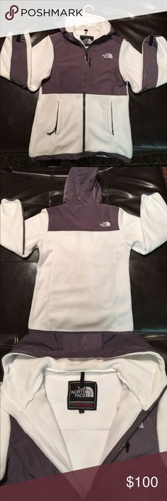 Grey and White North Face Danali with hood Women's size small grey and white hooded danali North Face fleece jacket. New without tags. Never worn The North Face Jackets & Coats