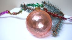 Plastic ball bauble Christmas tree ornament Soviet pink Vintage Retro USSR Russian Collectible Toy home Decor New Year
