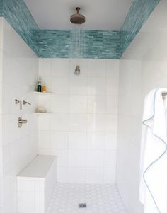 Love these sea-green tiles above the boring white shower. I totes think I can do this in my new bathroom.