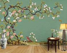 Chinoiserie Brushwork Hand Painted Hanging Cherry Tree and Birds Wallpaper, Vivid Birds and Peony Flowers Floral Wall Murals Wall Decor Bird Wallpaper, Custom Wallpaper, Photo Wallpaper, Wall Painting Decor, Painting Walls, Tree Wall Murals, Cleaning Walls, Smooth Walls, Traditional Wallpaper