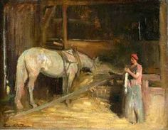 """Knitting In The Stable"", Charles E. Waltensperger (1870-1931), American  /  wp"