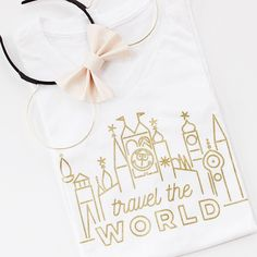 Travel the World It's a Small World v-neck tee by Blush & Gold Press, Ears by Gingham and Dots Disneyland Paris, Disneyland Outfits, Disneyland Shirts, Disney Inspired Outfits, Disney Shirts, Disney Outfits, Disney Style, Disney Clothes, Disney Fashion
