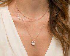 Layered Necklaces with Side Cross Necklace / Personalized Delicate Rose Gold Necklaces, 14k Gold Filled or Sterling Silver Layering Necklace...