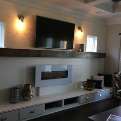 Long Mantel and Storage Wall -- The Weekender Wall Units With Fireplace, Tv Fireplace, Fireplaces, Small Living Rooms, Living Spaces, Media Wall Unit, Living Room Upgrades, Overstuffed Chairs, Living Room Furniture Arrangement