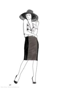 Available at Saks: Johana's at-the-knee pencil skirt. (Chris Olson illustration)