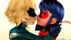 Miraculous Ladybug Speededit Ladybug and Super Cat Noir kissing