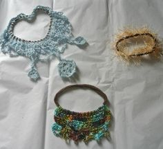 Fishnets upcycled to necklaces with crochet thread crochet-jewelry