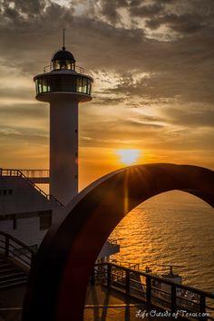 Sunrise over Taejongdae Lighthouse in Busan