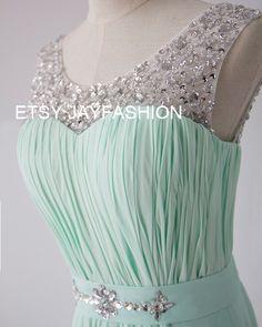 Mint Green Chiffon Simple Bridesmaid prom Dress V Back Sheer Beading Neckline A-line long Prom Dresses with Lace-up - Bridesmaid Dresses by jayfashion on Etsy https://www.etsy.com/listing/210666308/mint-green-chiffon-simple-bridesmaid