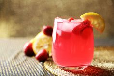 3 ingredient raspberry pink lemonade (lemon, raspberries, caster sugar and water), perfect for the onset of the summer months