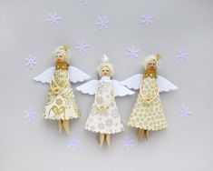 White Christmas Ornaments, Christmas Angels - Set of 3, Choose your color