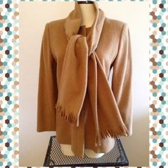 Camel color warm winter coat with scarve Camel colored fully lined wool coat. Has  two hip pockets, zip up, fitted, perfect for the coming cold days and comes with the matching scarve  In excellent condition!!! Size 8 , I took tag off as it was itchy!!! Fits like a regular women's M. Harve Benard Jackets & Coats