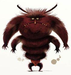 Gerald Guerlais: Igor le Poux Real Monsters, Cute Monsters, Little Monsters, Cute Monster Illustration, Dragon Illustration, Art Cg, Dragons, Creature Concept Art, Weird Creatures