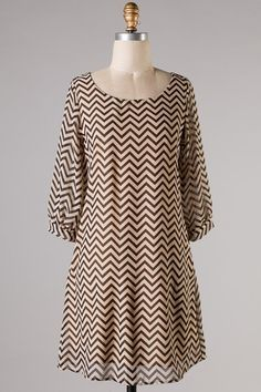 $32.95 Dress Chevron Zig Zag Taupe - Kelly Brett Boutique