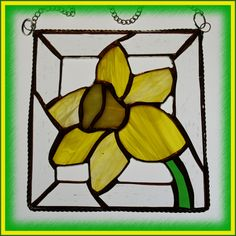 £14.00  Yellow Daffodil framed suncatcher Stained Glass for Spring Mothers Day