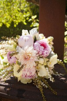 Peonies, dahlias and lillies. Gorgeous wildflower bouquet Dreamy garden wedding with a seamless mix and match palette Peony Flower Arrangements, Floral Bouquets, Bright Wedding Flowers, Floral Wedding, Bridal Bouquet Pink, Wedding Bouquets, Wedding Centerpieces, Garden Wedding, Real Weddings