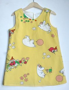 Lovely recycled Moomin fabric made into this fully lined shift dress #Baby #girls #dresses