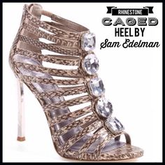"Sam Edelman Caged Heel Feel fabulous in a snakeskin-print sandal with a full lineup of emerald-cut crystals. - 4 1/2"" heel (size 8.5) - Back zip closure - Leather and textile upper/leather lining/synthetic sole Sam Edelman Shoes Heels"