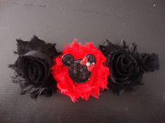 Minnie Mouse Shabby Flower headband by AshleyAnnBowtique on Etsy, $6.00