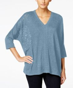 Style & Co. Crochet-Trim Knit Top, Only at Macy's