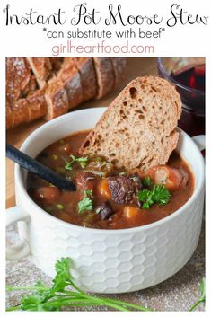 Looking for an easy Instant Pot stew recipe? You got it with this Moose Stew! It's loaded with chunks of moose, lots of veg and it's all bathed in a rich, savoury gravy. Served with a hunk of bread, it makes for one hearty, satisfying dinner. Easy Stew Recipes, Moose Recipes, Jam Recipes, Venison Recipes, Moose Stew Recipe, Instant Pot Stew Recipe, Meet Recipe, Moose Meat, Classic Stew Recipe