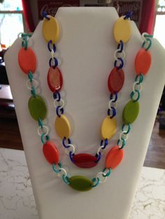 Vintage sliced bakelite necklaces