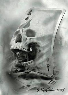 Ace of Spades Tattoo Sketch - http://gotattooideas.com/ace-spades-skull-tattoo-sketch/