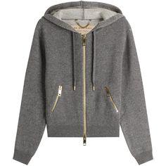 Burberry Brit Cashmere Blend Hoody (11.465 ARS) ❤ liked on Polyvore featuring tops, hoodies, grey, slim hoodie, grey hooded sweatshirt, zip pocket hoodie, hooded pullover and slim fit hooded sweatshirt